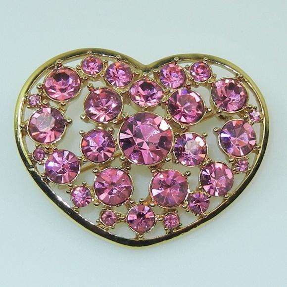 c924d117ff8c2 Liz Claiborne Jewelry   Vintage Pink Rhinestone Heart Brooch   Poshmark